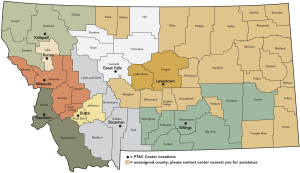 montana ptac map of the state and center locations
