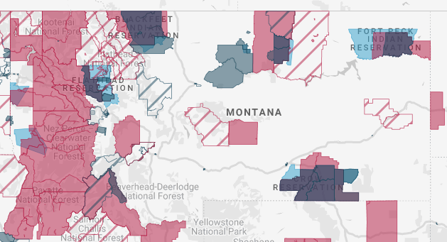 Map of HUBZones in Montana